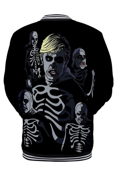 Men's Hot Popular Skull Pattern Stand Collar Long Sleeve Black Baseball Jacket