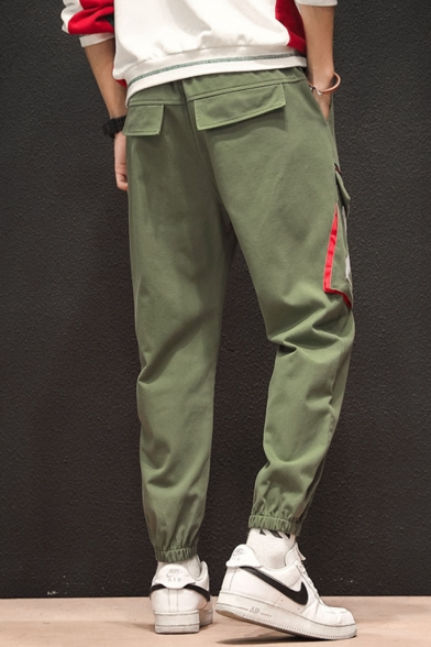 Men's Popular Fashion Letter X Printed Drawstring Waist Elastic Cuffs Casual Multi-pocket Cargo Pants