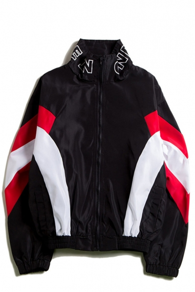 Mens New Stylish Colorblocked Zip Up High Neck Windbreak Loose Black Track Jacket