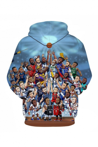 NBA Popular Basketball Player 3D Printed Long Sleeve Blue Pullover