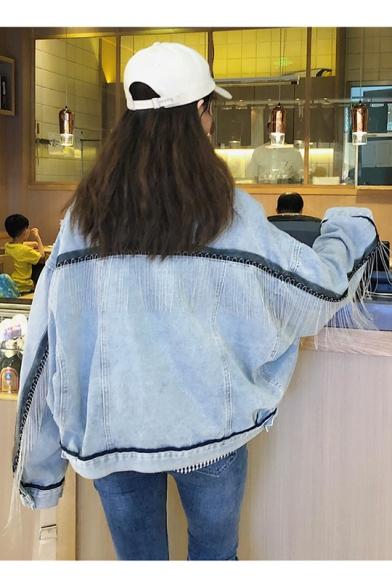 New Hot Popular Color-Block Fringed Embellished Bat Wing sleeve Light Blue Jacket