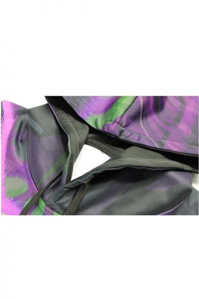 Popular Fashion Cartoon Three-eyed Cat Galaxy 3D Printed Long Sleeve Purple Pullover Hoodie