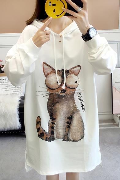 Popular Letter Cat Pattern Long Sleeves High Low Hem Slit Side Pullover Hoodie