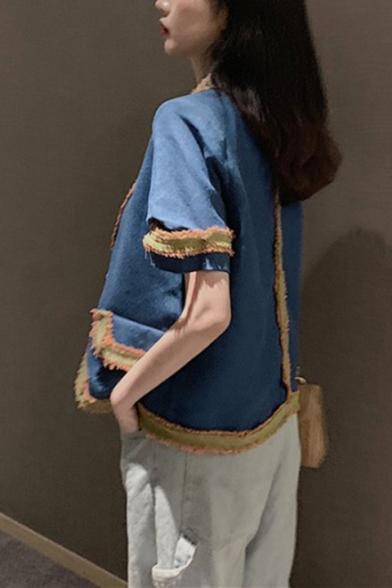 Retro Lapel Collar Flap Pocket Short Sleeve Single Button Striped Contrast-Panel Blazer Coat