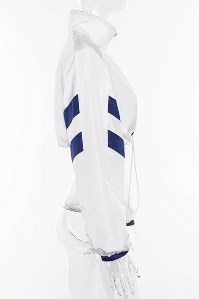 Sexy Women's Lapel Collar Drawstring Hem Color Block White Cropped Track Jacket