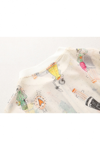 Summer Cartoon Character Graffiti Print Stand Collar Translucent Zip Up White Jacket