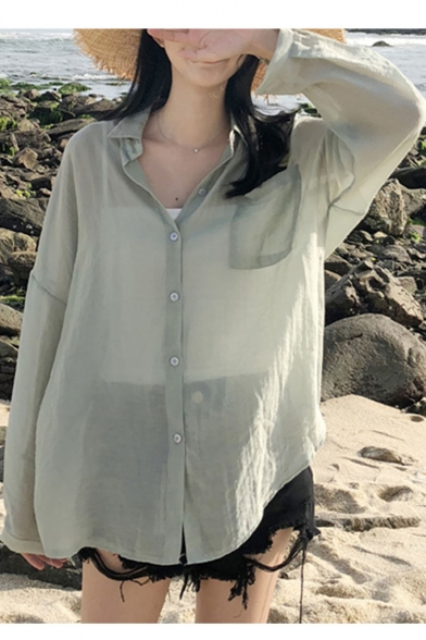 Summer Girls Popular Simple Solid Color Long Sleeve Casual Sunscreen Button Shirt