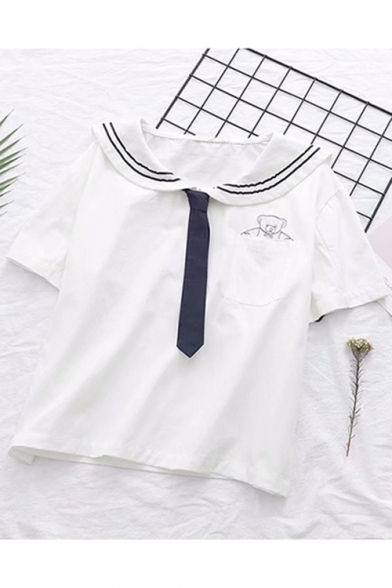 White Short Sleeve Tie Neck Bear Embroidered Pocket Front Pullover Sailor Tee