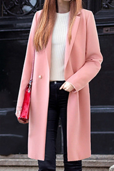 Winter Trench Fashion Solid Color Notch Lapel Collar Slim Long Outerwear with Pockets