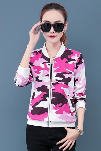 Women's Fall Fashion Stand Up Collar Camo print zipper Tailored Baseball Jacket