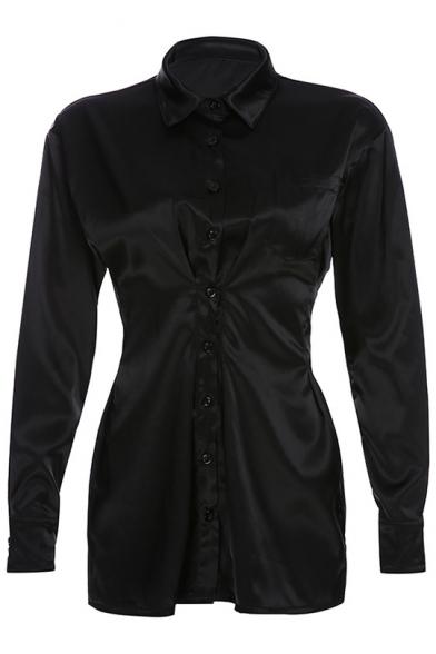 Womens Collar Neck Long Sleeve Pockets Button Down Mini Black Shirt Dress