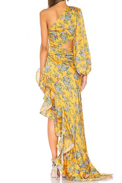 Womens Fashion One Shoulder Long Sleeve Floral Print Hollow Ruffles Asymmetrical Bodycon Maxi Eneving Dress