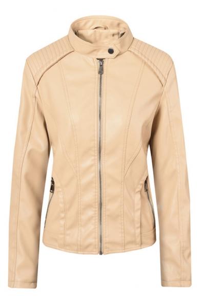 Womens Hot Fashion Long Sleeve High Neck Zipper Front Plain PU Biker Jacket