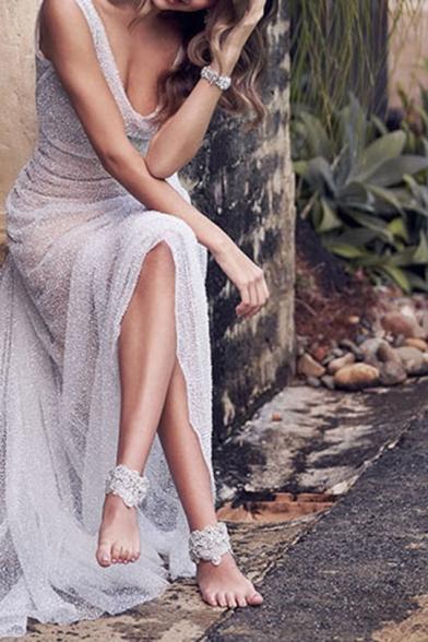 Womens Hot Fashion V-Neck Sleeveless Plain Lace Eneving Sheath Floor Length Maxi Dress