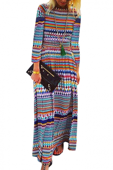 Womens New Fashion Round Neck Long Sleeve Tribal Print A-Line Maxi Dress