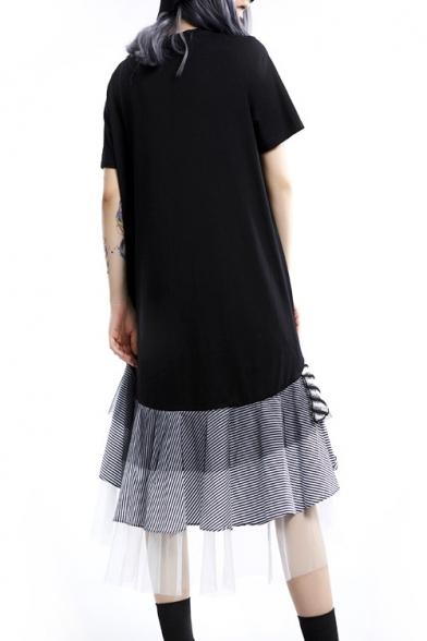 Womens New Trend Round Neck Short Sleeve Hybrid Panelled Striped Ruffles Tiered Swing T-Shirt Asymmetrical Maxi Dress