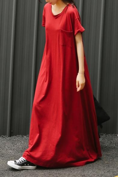 Womens Round Neck Short Sleeve Pockets Red Swing T-Shirt Floor Length Maxi Dress