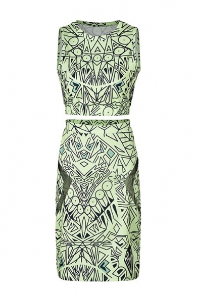 Womens Sexy Aztec Print Sleeveless Round Neck Tank Top With Wrap Skirt Hole Sides Co-ords