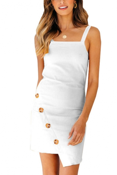 Womens Sexy Square Neck Sleeveless Oblique Single Breasted Plain Asymmetrical Sheath Cami Midi Dress