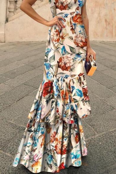 Womens Sexy V-Neck Sleeveless Floral Print Flounce-Tier Asymmetrical Sheath Boho Maxi Dress
