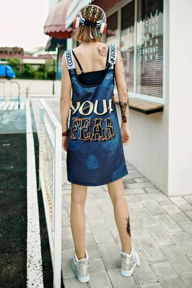 Womens Summer Fashion Letter Scoop Neck Sleeveless Loose Midi Shift Cami Dress