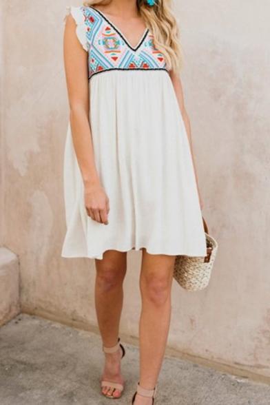 Womens Summer Holiday V-Neck Sleeveless Mini White Swing Dress