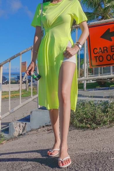 Womens Summer Round Neck Short Sleeve Button Twist Detail Slit Plain Casual Shift T-Shirt Midi Dress