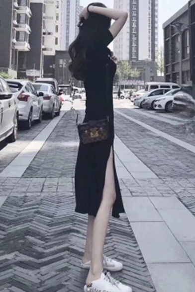 Womens Summer Round Neck Short Sleeve Split Front Black Pleated Sheath Maxi Dress