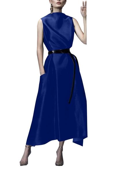 Womens Summer Round Neck Sleeveless Belt Pockets Plain Weaving A-Line Maxi Dress