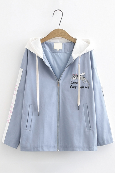 Cartoon Cat Embroidery Long Sleeve Hooded Zip Up Sport Loose Jacket
