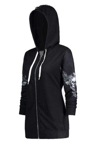 Baycheer / Cool Black Skull Printed Long Sleeve Zip Up Hoodie With Pocket