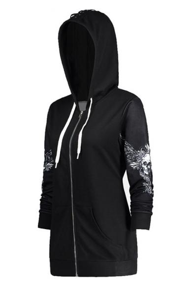 Baycheer / Cool Black Skull Printed Long Sleeve Zip Up Hoodie With Pocket