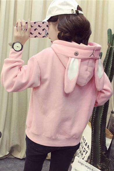 Cute Plain Rabbit's Ears Embellished Long Sleeve Hoodie, Black;pink;white, LM554650