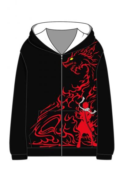Comic Figure Dragon 3D Printed Long Sleeve Casual Zip Up Hoodie