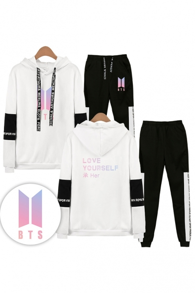 Fashion Letters LOVE YOURSELF Print Patterns BTS Idol Theme Long Sleeve Hoodie with Elastic Sweatpants Two Piece Set