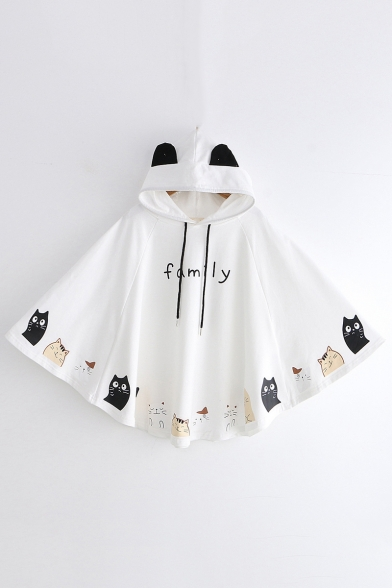 Funny Cartoon Cat Printed Letter FAMILY Loose Casual Cape Hoodie