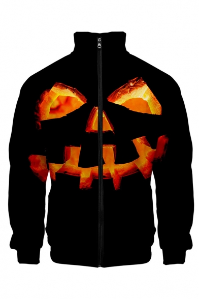 Funny Halloween Pumpkin Pattern Rib Stand Collar Long Sleeve Black Baseball Jacket For Men