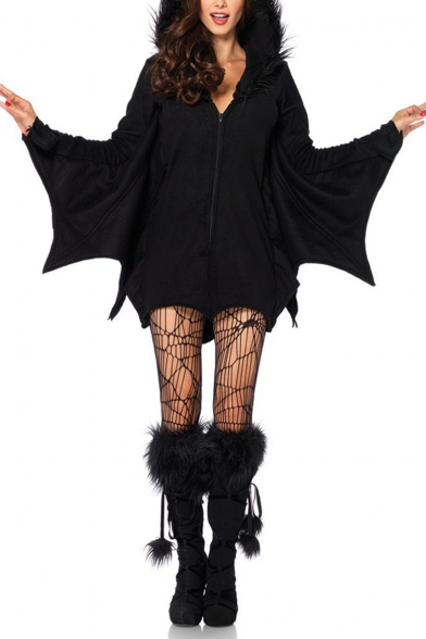 Halloween Cosplay V Neck Bat-wing Sleeve Hoodie zip Mini Sheath Dress