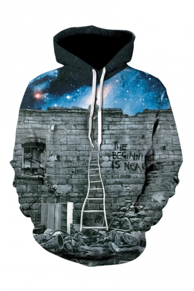 Hot Fashion Cool Galaxy Brick Wall Ladder 3D Printed Drawstring Hooded Long Sleeve Unisex Grey Loose Hoodie