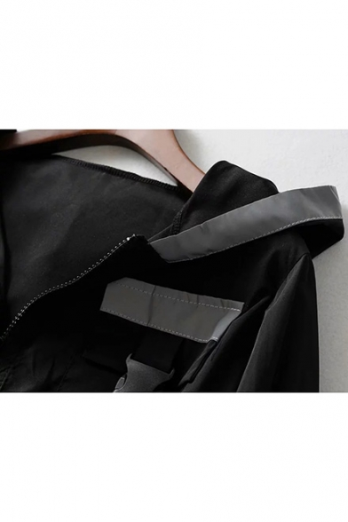 Hot Fashion Reflect Light Stripes Hooded Zip Up Black Cropped Jacket Coat with Push Buckle Pocket