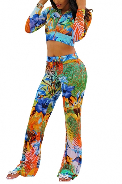 Hot Sale Floral Plant Print Hooded Long Sleeve Crop Tops High Waist Slim Fit Pants Two Piece Set