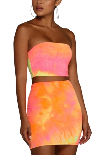 Ladies Pub Style Orange Tie-dyed Color Print Sleeveless Strapless Bandeau Top High-Waist Tube Skirts Co-ords, LM556520