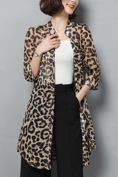 Loose Leopard Print Stand Up Collar 3/4 Length Sleeve Longline Sun Protection Skin Coat