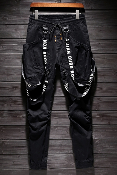 Men's Popular Fashion Letter Ribbon Embellished Drawstring Waist Casual Cotton Cargo Pants