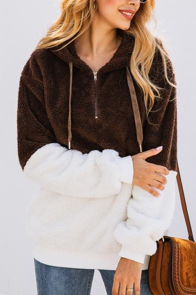 New Fashion Color Block Pattern Half-Zip Long Sleeve Fluffy Teddy Hoodie