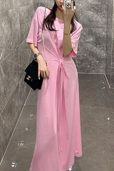 New Fashion Round Neck Short Sleeve Pink Tie Front A-Line Sheath Maxi Dress