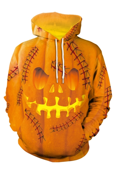 New Stylish Halloween Pumpkin Face 3D Printed Long Sleeve Loose Fit Unisex Yellow Pullover Hoodie