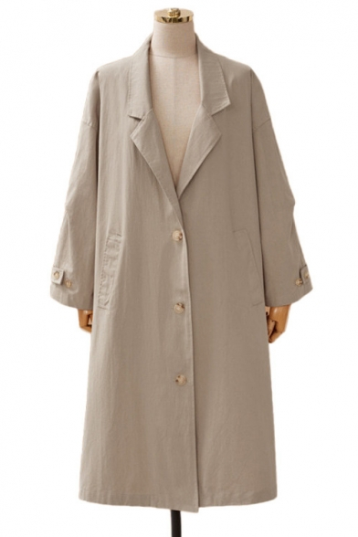 New Trend Single Breasted Adjustable Cuffs Longline Trench Coat