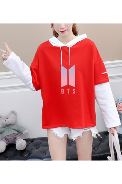 New Trendy Kpop Logo Patched Layered Long Sleeve Loose Fitted Hoodie, Red;white, LC555500