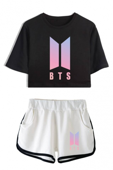 New Trendy Kpop Logo Printed Short Sleeve Crop Tee with Dolphin Shorts Two-Piece Set, Color 1;color 2;color 3;color 4;color 5;color 6;color 7;color 8;color 9;color 10;color 11;color 12;color 13;color 14;color 15;color 16, LC555560